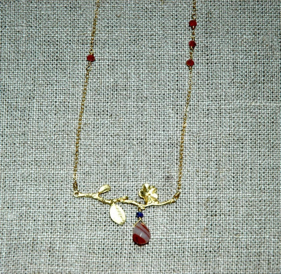 Sale- Was 36.00 and Now 18.00-Gold Vermeil Cherry Blossom Branch Necklace