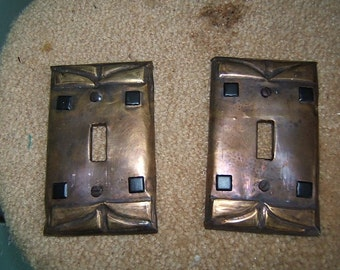 Pair of Geometric Square Switchplates Pair in Brass