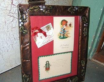 Copper Mistletoe Frame with Vintage Cards