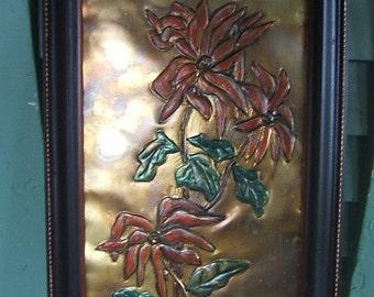 Zinna Flowers Tooled on Brass