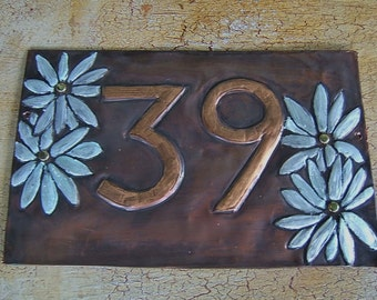 Double Daisy House Number Plaque