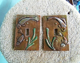 Copper tooled Koi Fish Switchplates