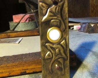 Brass Tooled Ginkgo Doorbell