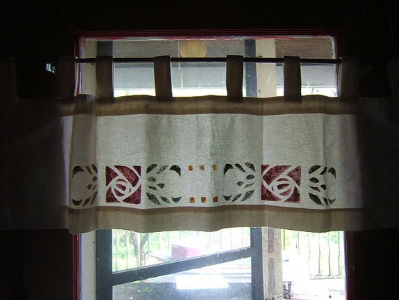Mission style Rose Stenciled Curtains
