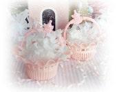 6 Vintage Baby Shower Wedding PINK Party Favor Basket Nut Candy Cups BEST USA