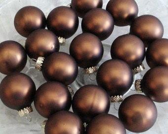 12 Chocolate Drop Silk Matte Glass Ball Feather Tree Halloween Christmas Ornaments