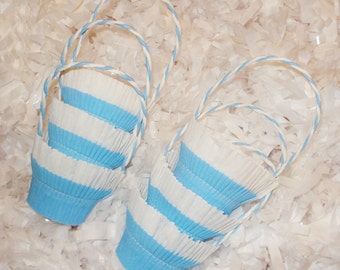 6 Blue White Crepe Paper Favor Basket Nut Candy Cups