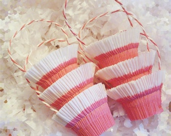 12 Shabby Baby Shower Pink White Crepe Paper Favor Basket Nut Cups