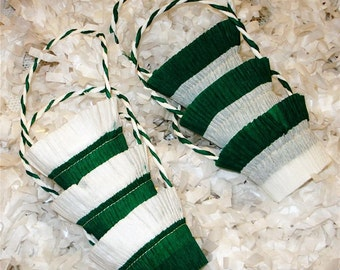 6 St Patrick's Kelly Green White Crepe Paper Party Favor Basket Nut Cups