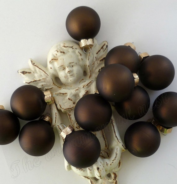 12 Espresso Brown Matte Glass Ball Christmas Halloween Feather Tree Ornaments Decorations