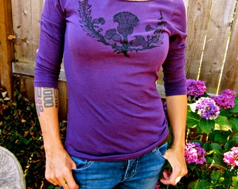 Scottish Thistle Eggplant Purple Boatneck Threequarter Sleeve Womens Tshirt Small, Medium