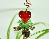 Red Heart and Flowers Handmade Mini Plant Stake - MS118