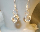 Chain Mail Rosette Earrings - Sterling Silver