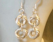 Chain Mail Earrings - Rosettes - Sterling Earrings