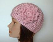 Pink Textured Morgan Beanie with Flower