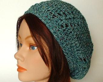 Jade Green Shell Stitch Crocheted Cap Beanie Slouch Beret Hat