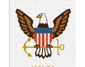 INSTANT DOWNLOAD Chella Crochet Navy Eagle Anchor Afghan Crochet Pattern Graph