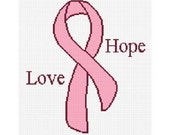 INSTANT DOWNLOAD Chella Crochet Breast Cancer Awareness Ribbon Faith Hope Love Courage Afghan Crochet Pattern Graph Chart .PDF