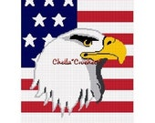 INSTANT DOWNLOAD Chella Crochet Bald Eagle on American United States U.S. Flag Afghan Crochet Pattern Graph Chart .pdf