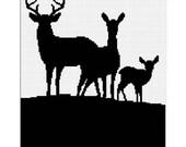 INSTANT DOWNLOAD Chella Crochet Deer Family Silhouette Buck Doe Fawn Pattern  Afghan Pattern Graph Chart. .PDF
