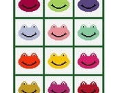 INSTANT DOWNLOAD Chella Crochet Afghan Crochet Pattern Graph Frog Faces for Scrap or Leftover Yarn