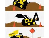 INSTANT DOWNLOAD Chella Crochet Construction Area Dump Truck Bulldozer Backhoe Afghan Crochet Pattern Graph