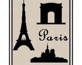 INSTANT DOWNLOAD Chella Crochet Pattern Paris Eiffel Tower Arc de Triumph Notre Dame Silhouette  Pattern Graph Chart Cross Stitch. .PDF
