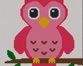 INSTANT DOWNLOAD Easy Too Cute Pink Baby Owl Crochet Knit Cross Stitch Afghan Pattern Graph