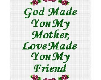 INSTANT DOWNLOAD Chella Crochet God Made You My Mother Love Made You My Friend Afghan Crochet Pattern Graph