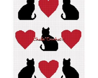 INSTANT DOWNLOAD Chella Crochet Cats and Hearts Afghan Crochet Pattern Graph Chart .PDF