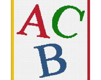 INSTANT DOWNLOAD Chella Crochet ABC Alphabet Letters Afghan Crochet Pattern Graph