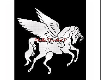 INSTANT DOWNLOAD Chella Crochet Pegasus Silhouette Afghan Crochet Pattern Graph