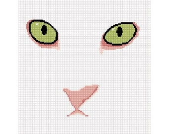 INSTANT DOWNLOAD Chella Crochet White Cat Green Eyes Pattern Afghan Pattern Graph Chart. .PDF