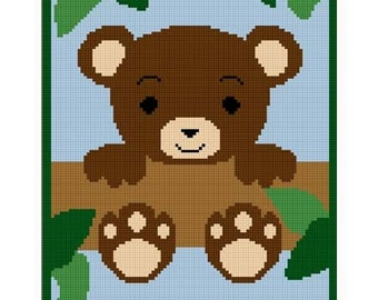 INSTANT DOWNLOAD Chella Crochet .PDF Baby Teddy Bear In Tree Jungle Afghan Crochet Pattern Graph 100st