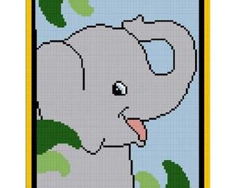INSTANT DOWNLOAD Chella Crochet Small Baby Elephant on Safari / Jungle Afghan Crochet Pattern Graph Chart .PDF