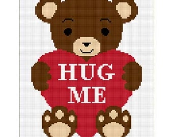 INSTANT DOWNLOAD Chella Crochet Baby Teddy Bear with Heart Hug Me Afghan Pattern Graph Lapghan Throw Blanket