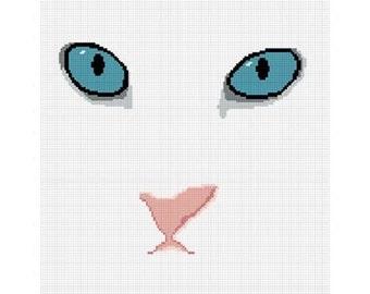 INSTANT DOWNLOAD Chella Crochet White Cat Blue Eyes Afghan Crochet Pattern Graph Chart .PDF