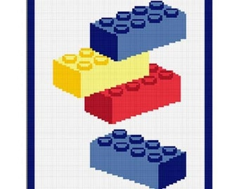 INSTANT DOWNLOAD Building Blocks Chella Crochet  Pattern Graph Chart.  Afghan .PDF 100st