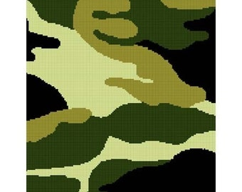 INSTANT DOWNLOAD Chella Crochet Camouflage Camo Green Afghan Crochet Pattern Graph Chart .PDF