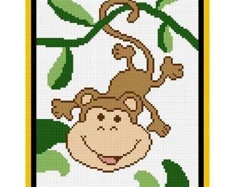 INSTANT DOWNLOAD Chella Crochet .PDF Baby Monkey Jungle Afghan Crochet Pattern Graph 100st