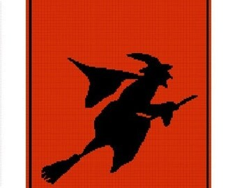 INSTANT DOWNLOAD Chella Crochet Witch On Broom Silhouette Halloween Afghan Crochet Pattern Graph