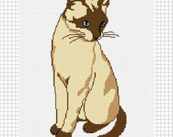 INSTANT DOWNLOAD Chella Crochet Blue Eyed Siamese Cat Afghan Crochet Pattern Graph