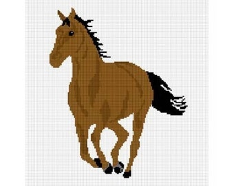 INSTANT DOWNLOAD Chella Crochet Brown Horse Stallion Mare Afghan Crochet Pattern Graph