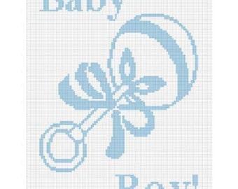INSTANT DOWNLOAD Chella Crochet .PDF Rattle Baby Boy blue  Afghan Crochet Pattern Graph 100st