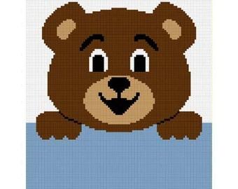 INSTANT DOWNLOAD Chella Crochet Hang on Teddy Bear Afghan Crochet Pattern Graph 100st  EASY