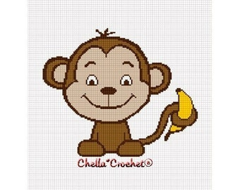 INSTANT DOWNLOAD  Chella Crochet Baby Monkey with Banana Afghan Crochet Pattern Graph Chart .PDF