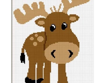 INSTANT DOWNLOAD Chella Crochet Too Cute Baby Moose Afghan Crochet Pattern Graph 100st .pdf