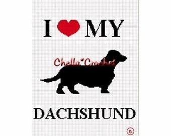 INSTANT DOWNLOAD Chella Crochet I Love My Dachshund Dog Afghan Crochet Pattern Graph Chart .PDF