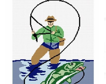 INSTANT DOWNLOAD Chella Crochet Fly Fishing Bass Trout Afghan Crochet Pattern Graph