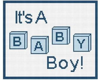 INSTANT DOWNLOAD Chella Crochet Baby Its a Boy Blocks  Afghan Crochet Pattern Graph 100st .pdf